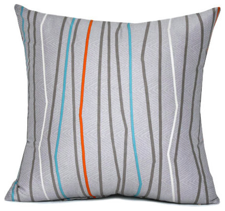 Shop Houzz Silver Fern Decor Gray And Orange Stripe Throw Pillow