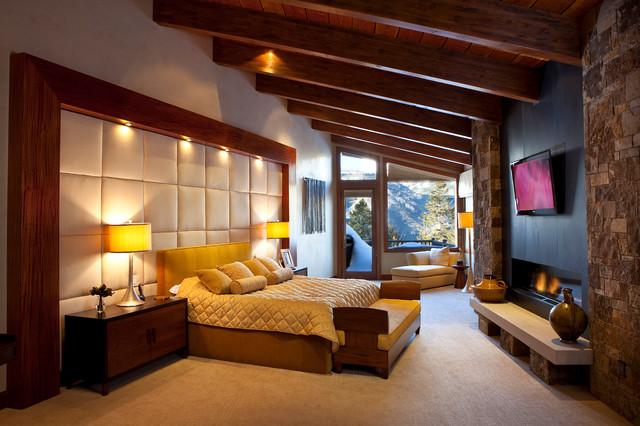 Mountain Contemporary Cabin - Contemporary - Bedroom - san ...