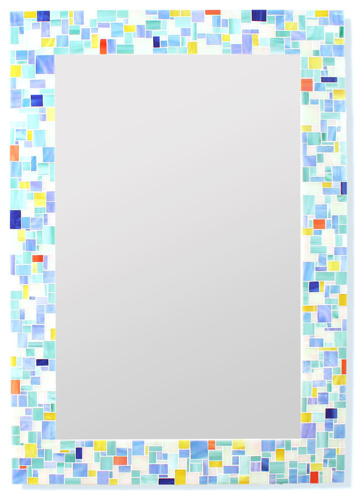 modern mosaic bathroom mirror in stained glass tiles 16x20