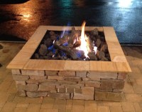 Custom square outdoor gas log fire pit by Fine's Gas ...