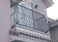 Belly style wrought iron exterior balcony rail