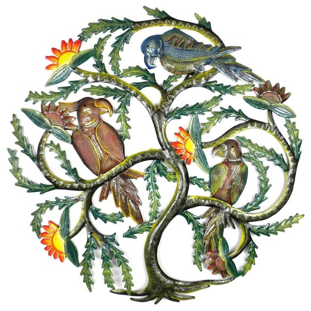 haitian wall art painted tree with parrots tropical outdoor wall