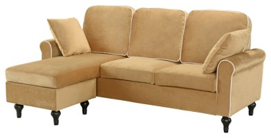 Traditional Small Space Velvet Sectional Sofa with ...