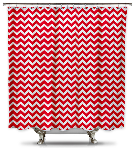 red and white chevron shower curtain shower