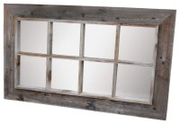 8-Panel Barn Wood Window Pane Mirror - Rustic - Wall ...
