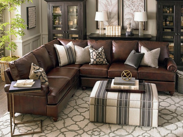 leather living room with sectional ideas Montague Leather Sectional Living Room by Bassett