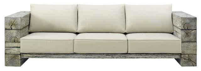 manteo rustic coastal outdoor patio sofa light gray beige