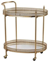 Sterling Banded Oval Bar Cart - Traditional - Bar Carts ...