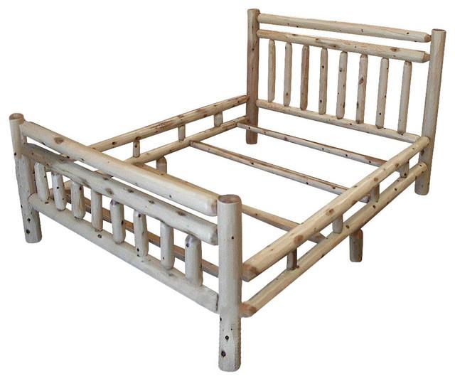 rustic white cedar log bed frame king