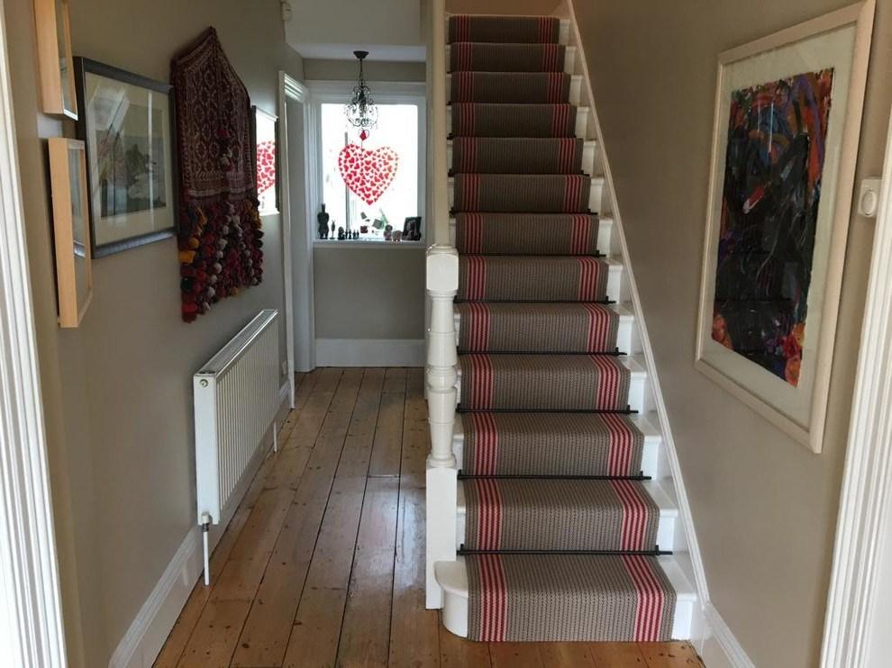 Roger Oates Flaxman Berry Stair Runner Carpet Fitted In Hook | Roger Oates Stair Runners | Middle | Hallway | Art Deco | Corner | Victorian
