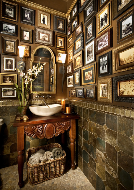 Design the Hall-Way mediterranean-powder-room