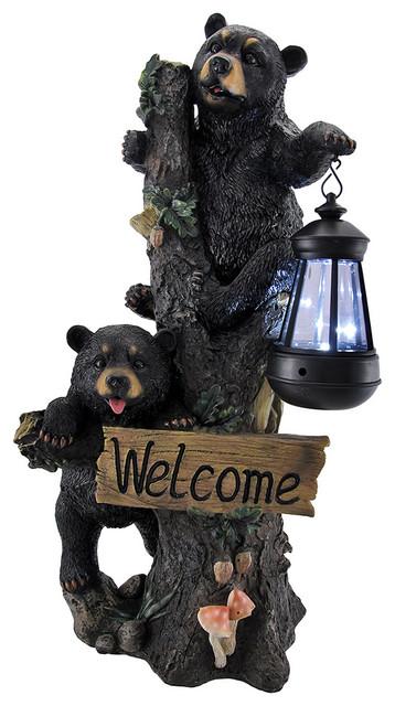 Little Rascals Climbing Bear Cubs Solar Light Welcome