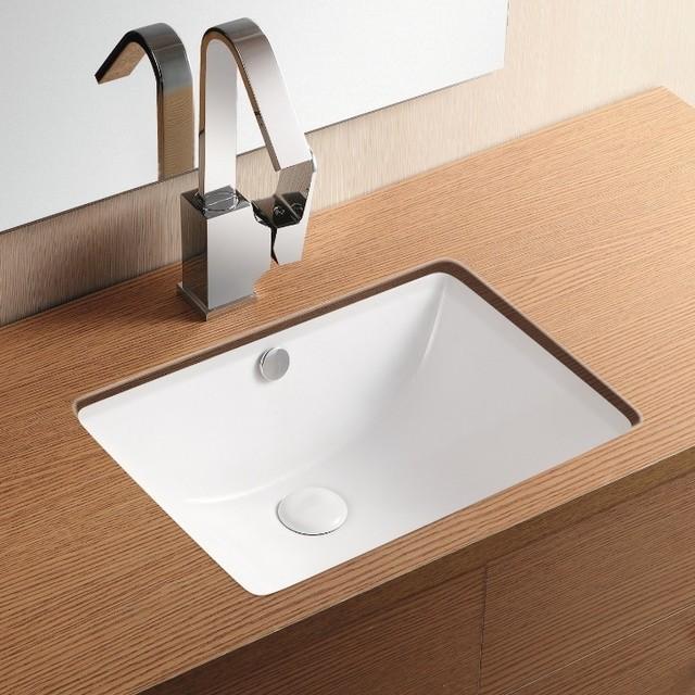 Rectangular White Ceramic Undermount Bathroom Sink