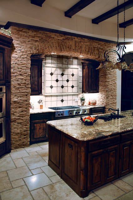 Beautiful Mountain Strip Stone Veneer Kitchen  Coronado