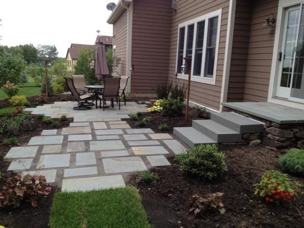 backyard flagstone patio and gardens
