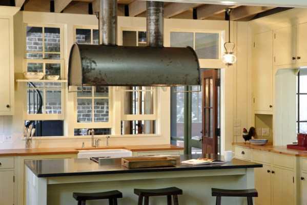 industrial kitchen hood in Barn Retreat - Rustic - Kitchen - Atlanta - by Historical Concepts