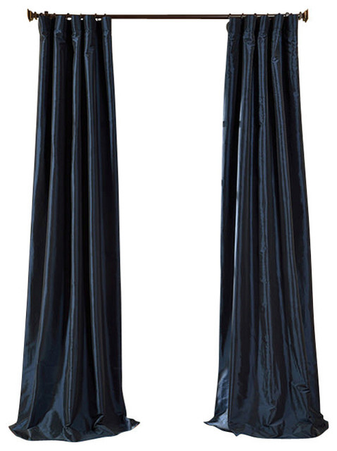 Navy Blue Faux Silk Taffeta Curtain Single Panel Traditional
