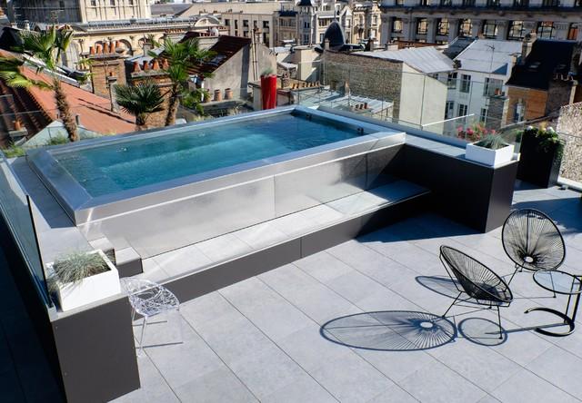 piscine inox hors sol sur terrasse  Contemporain  Piscine  Bordeaux  par Steel and Style