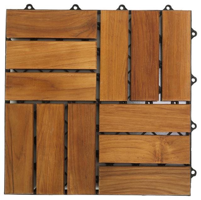 12 x12 u snap interlocking wood floor tiles solid teak wood set of 10