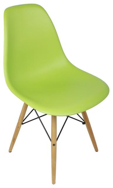 modern green dining chairs folding desk chair uk 4 x dsw lime mid century shell w wood eiffel legs midcentury by emodern decor