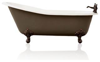 Gray Antique Style Cast Iron Porcelain Clawfoot Bathtub 5.5' Bathtub Set