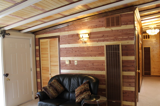 Decorating a wall in an Eichler house using red cedar planks