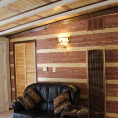 Farmhouse Kitchen Lights Storage Boxes Decorating A Wall In An Eichler House Using Red Cedar Planks