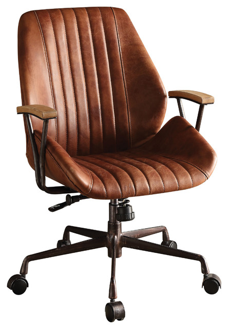 Hamilton Top Grain Leather Office Chair Coffee