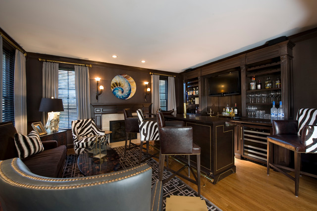 houzz dining chairs contemporary banquet chair covers for sale malaysia man cave - family room bridgeport by kellie burke interiors