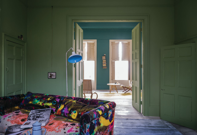 A Living Room Painted In Yeabridge Green No287 By Farrow