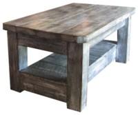 Weathered Coffee Table With Shelf, Gray - Rustic - Coffee ...