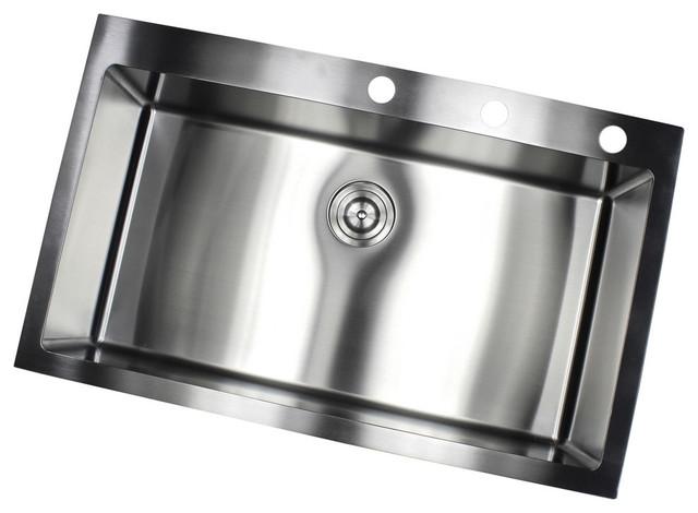 36 drop in top mount stainless steel single bowl kitchen sink