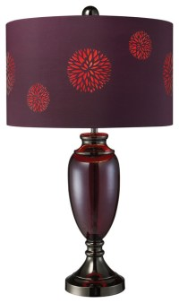 Vienna Black Chrome and Plum Floral Table Lamp ...