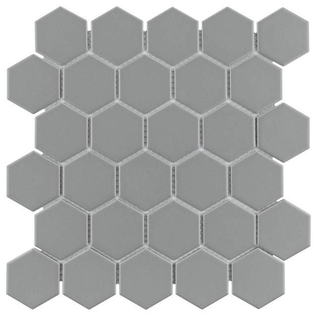somertile metro hex matte 2 porcelain mosaic floor wall tile light g