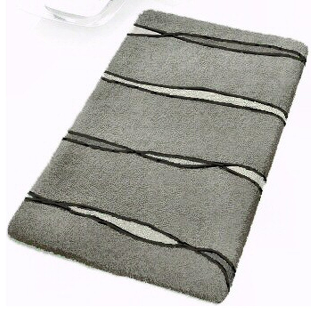 Grey Contemporary Bathroom Rugs  Flow Extra Large