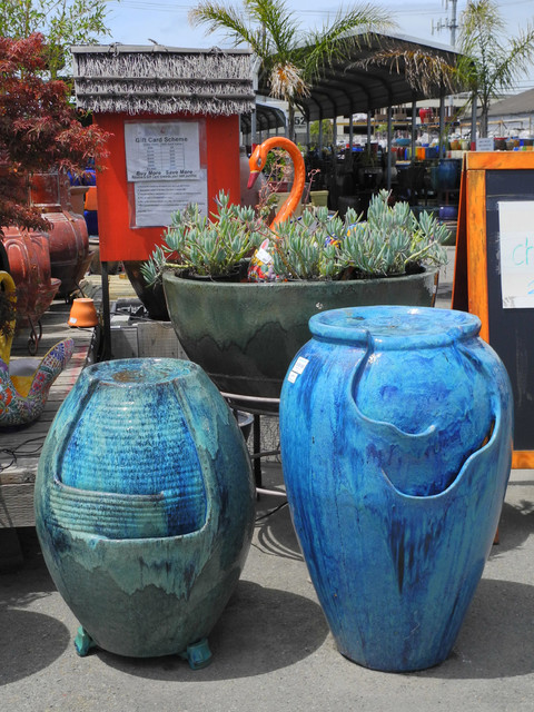 Blue glazed ceramic fountain