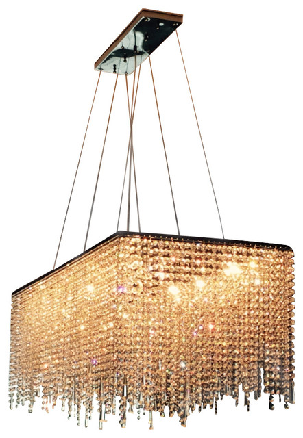 Martha 10 Light Contemporary Crystal Chandelier Rectangular Shape Chandeliers
