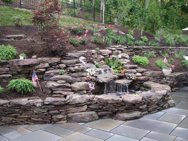 double waterfall pond with dry