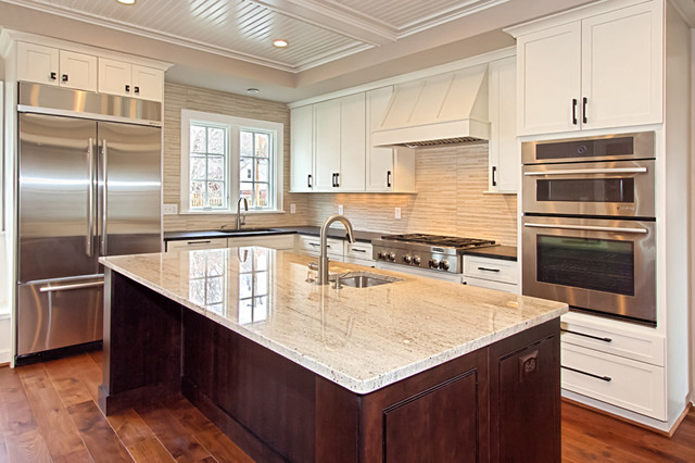 Dark Stained Hickory Kitchen Cabinets