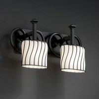 Wire Glass Heritage Two-Light Matte Black Bath Fixture ...