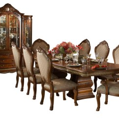 10 Chair Dining Table Set Folding Bar Stool Chairs Piece Cortina Rectangular Room With China Cabinet Victorian Sets By Warehouse Direct Usa