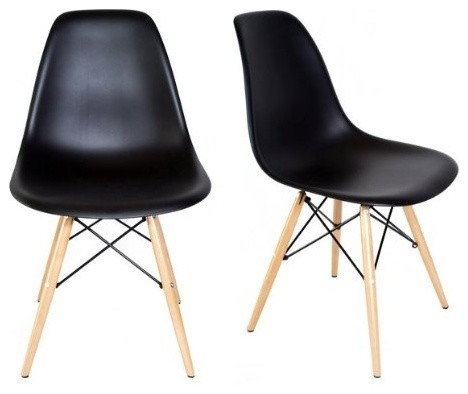 modern plastic chair makeup walmart set of 2 dsw black mid century dining shell midcentury chairs by emodern decor