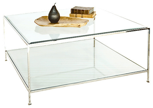 worlds away quadro hammered metal square coffee table with beveled glass nickel
