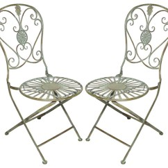 Green Metal Bistro Chairs Chair And Sofa Covers For Sale Folding With Scrolling Heart Peacock Tail Motif Set Of 2 Traditional Outdoor By Home Garden Collections