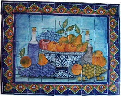 fruit bowl bodegon clay talavera tile mural