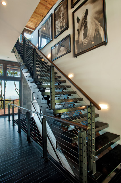 Modern Mountain Home Contemporary Staircase