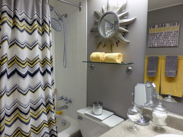 yellow and grey bathroom mirror Grey and Yellow Bathroom - Contemporary - Bathroom - Toronto - by Dominika Pate Interiors