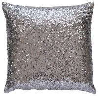 TwentyEight12 Silver Sequin Lumbar Pillow Cover