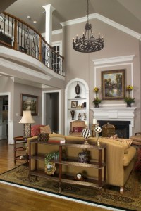 Vaulted Family Room with Balcony - Traditional - Living ...