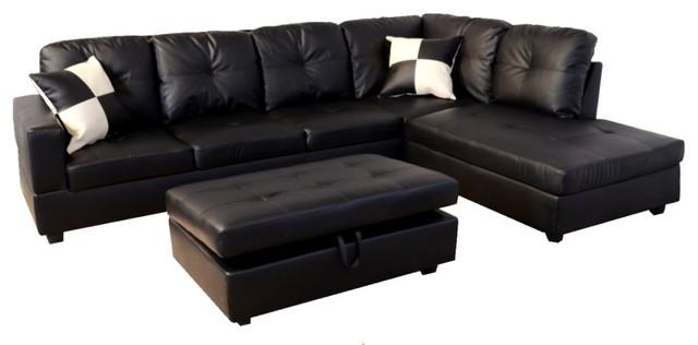 Shop Houzz Infini Furnishings Black Faux Leather Sectional Sofa